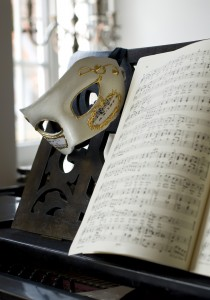 Mask and music sheets