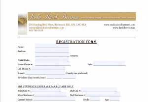 Screenshot of Registration Form